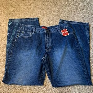 NWT Arizona Jeans Plus Boot Cut with Lace Design
